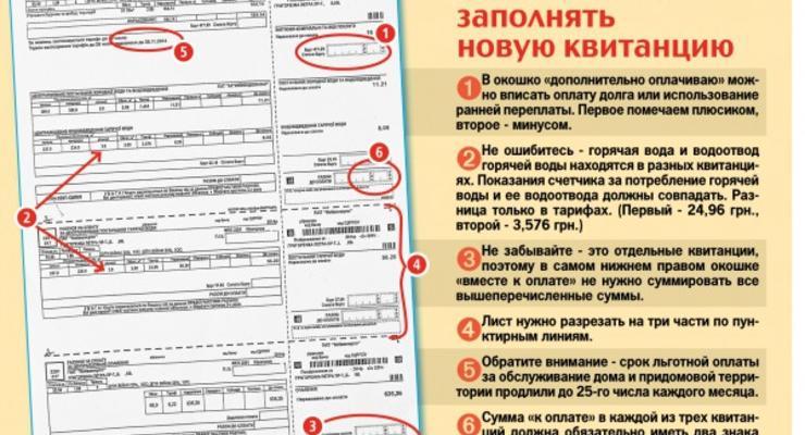 """Киевлянам на заметку: Как заполнять новые квитанции за """"коммуналку"""""""