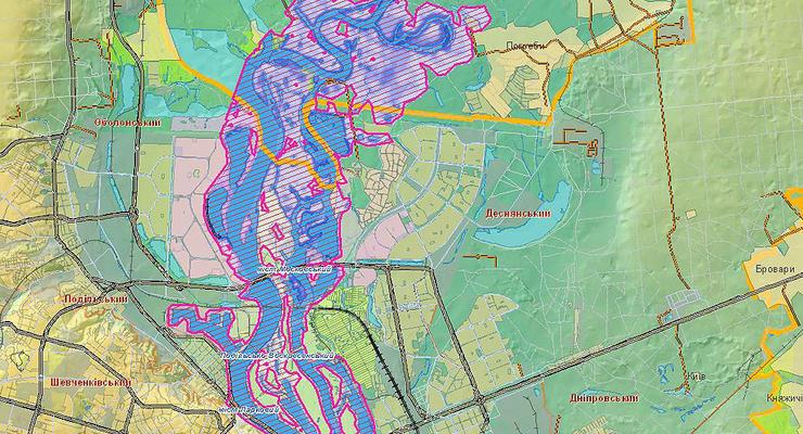 Карты зон возможного подтопления в Киеве